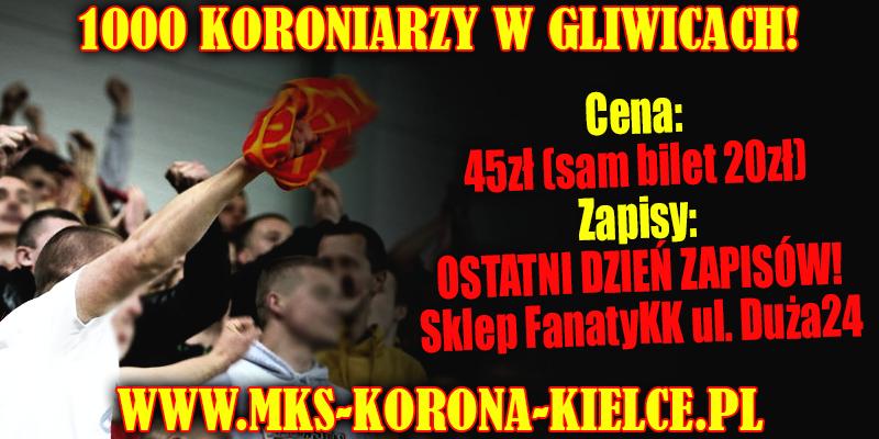 Piątek – ostatni dzień zapisów kibiców Korony na wyjazd do Gliwic!